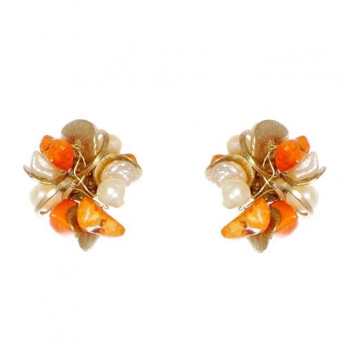 Wholesale WA00 Faux pearl and stone studs GOR