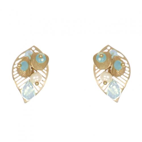 Wholesale WA00 Golden Leaves Studs W/ Faux Pearl & Beads Gaq