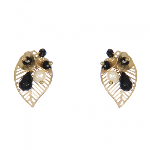 Wholesale WA00 Golden Leaves Studs W/ Faux Pearl & Beads Gbk