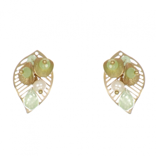 Wholesale WA00 Golden Leaves Studs W/ Faux Pearl & Beads Ggr