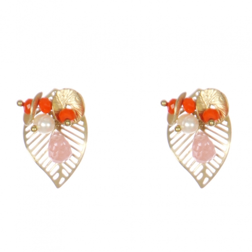 Wholesale WA00 Golden Leaves Studs W/ Faux Pearl & Beads Gor