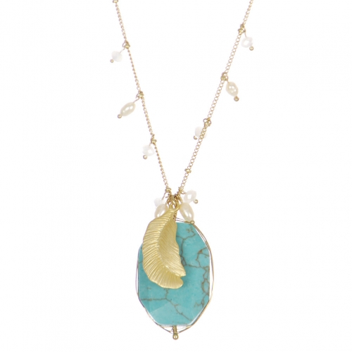 Wholesale WA00 Golden Feather & Stone Necklace Gtq