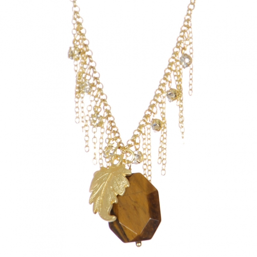Wholesale WA00 Stone Necklace W/ Golden Leaf Gbr