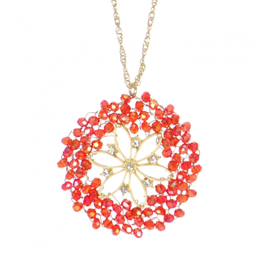 Wholesale WA00 Beads Wreath Necklace W/ Rhinestone Ggr