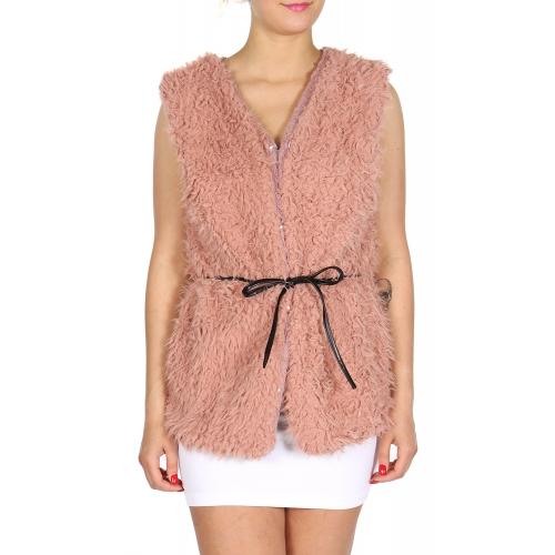 Wholesale Fur vest with belt Black