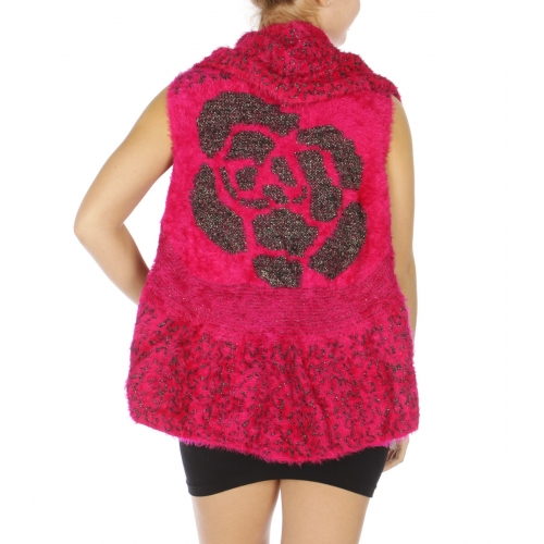 Wholesale P19A Rose and animal print furry vest Black