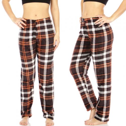 Wholesale B17A Ladies plush plaid pajama pants Black