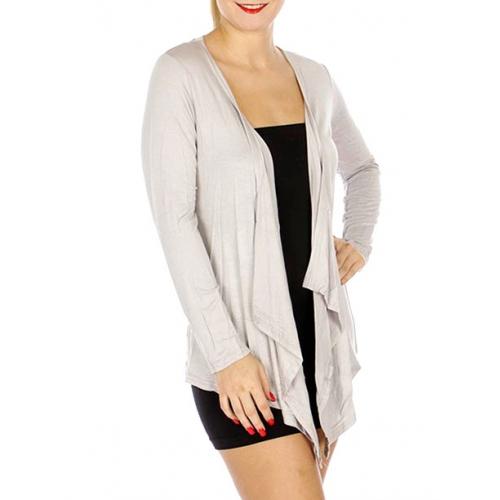 Wholesale M23B Cascade long sleeves solid cardigan Black