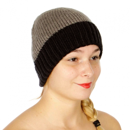 Wholesale Q61C Simple two tone beanie Grey