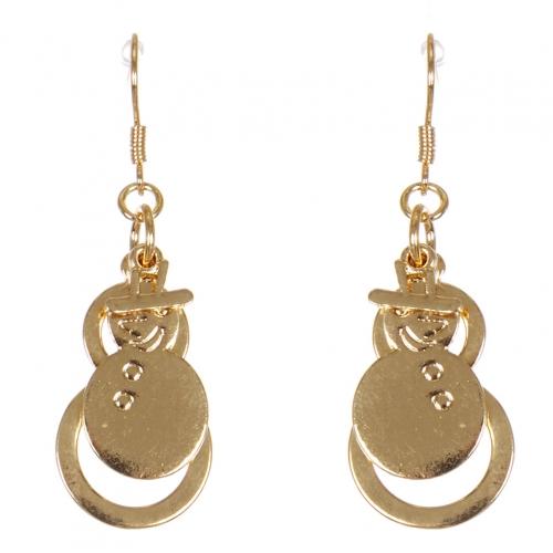 Wholesale WA00 Happy snowman earrings GD