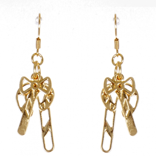 Wholesale WA00 Candy canes & bow earrings GD