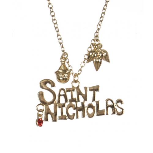 Wholesale WA00 SAINT NICHOLAS Christmas pendant necklace GD