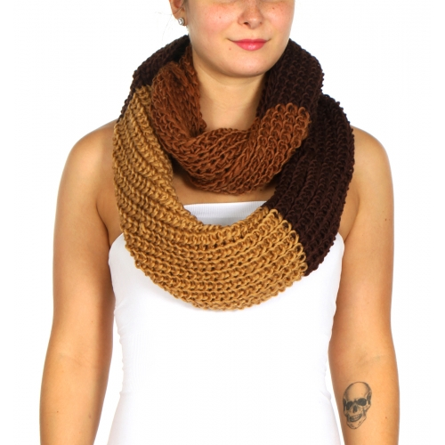 Wholesale S85C Three color block knit infinity scarf BL