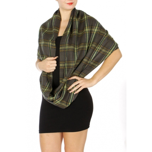 Wholesale S77B Plaid print infinity scarf GR