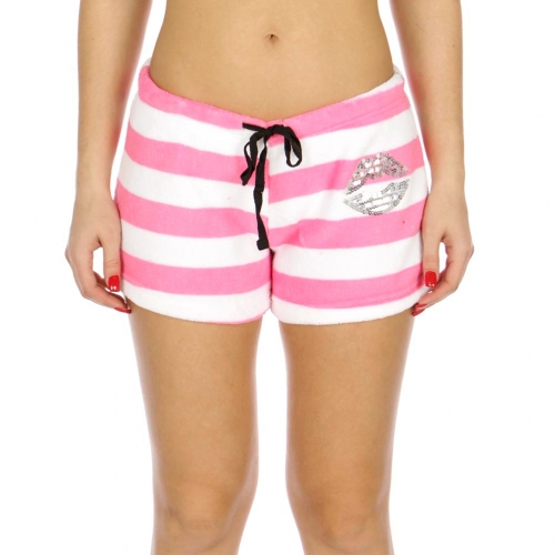 Wholesale U30A Ladies plush pj shorts w/lips sequin Pink stripe