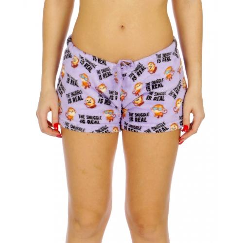Wholesale U30B Ladies plush printed pj shorts Purple