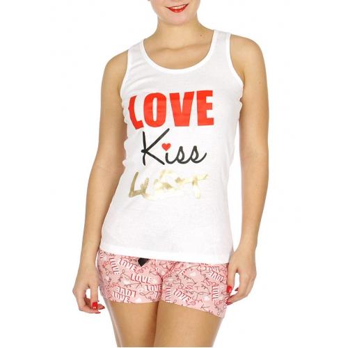 """Wholesale U37B """"Love, Kiss, Lust"""" 2pcs tank/shorts PJ set White"""