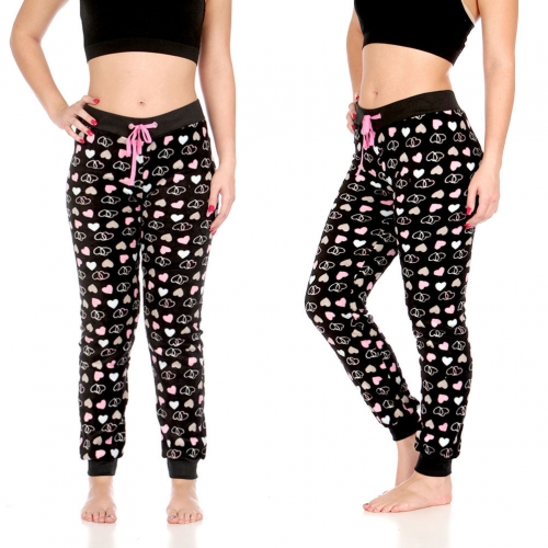 Wholesale T87 Plush jogger pants, BLACK MULTI HEARTS AOP