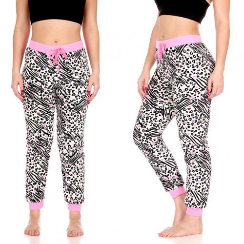 Wholesale T87 Plush jogger pants, Wht/Blk/Pink Animal AOP