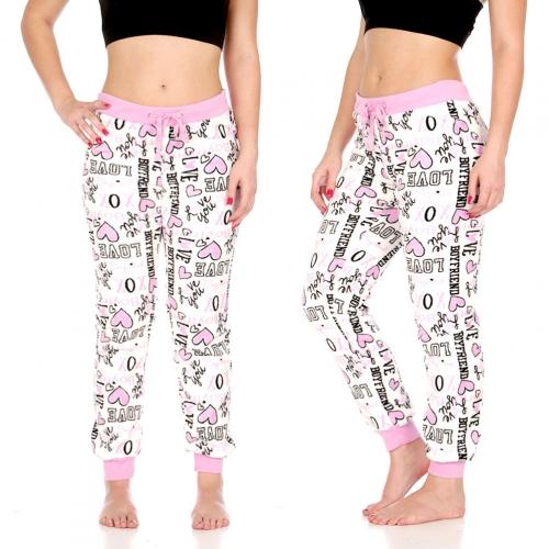 "Wholesale U37 Plush jogger pants, Wht w/ ""Love, XOXO"" AOP"