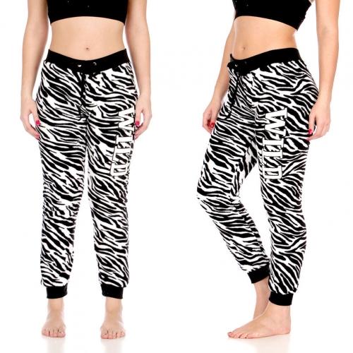 """Wholesale T86 Plush jogger pants w/ """"WILD"""" Applique, Blk/Wht Zebra AOP"""