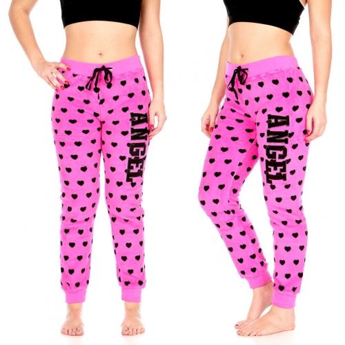 """Wholesale U34 Plush jogger pants w/ """"ANGEL"""" Applique, Blk & Red"""