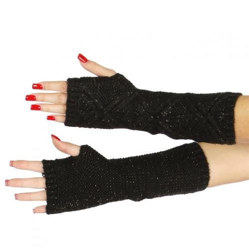 Wholesale T20 Long cross knit arm warmer BK