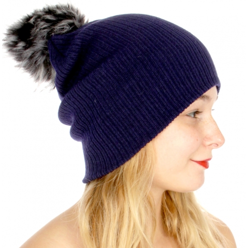 Wholesale Q74A Ribbed knit beanie w/ large faux fur pompom Blk/Blk