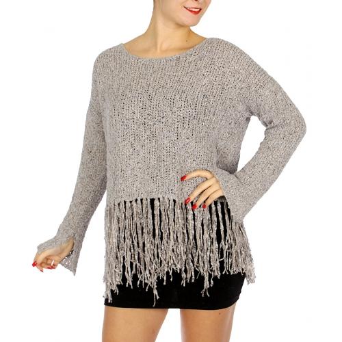 Wholesale M22D Fringed botton sweater Blush