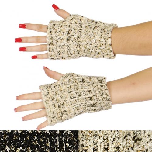Wholesale Q51D Short lurex knit arm warmers assorted color dozen