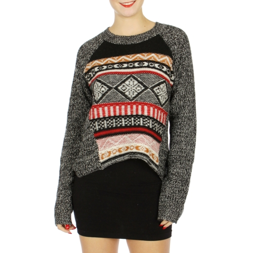 Wholesale N07D Tribal pattern marled sweater Black/White