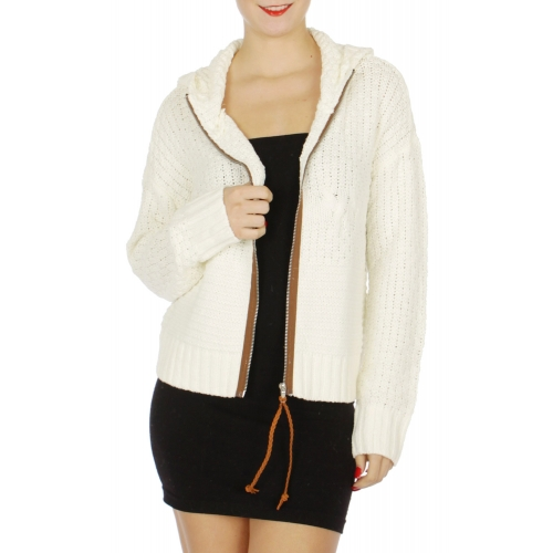 Wholesale N01D Short hooded knit jacket Cream