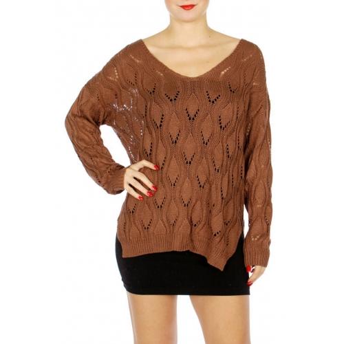 Wholesale M21E Eyelet sweater w/ sideslit D.Brick