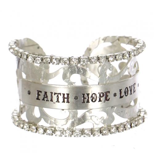 Wholesale Filigree cutout rihinesonte cuff - Faith Hope Love S