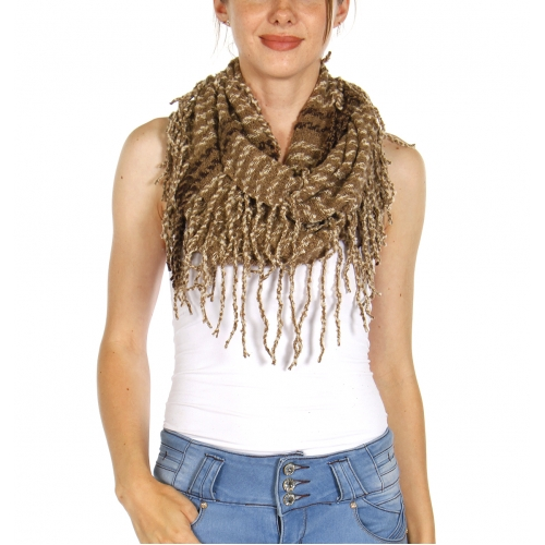 Wholesale U33C Stripes & fringes infinity scarves assorted color Dozen
