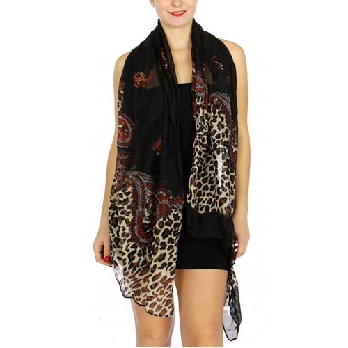 Wholesale U33B Leopard & paisley print scarves assorted color Dozen