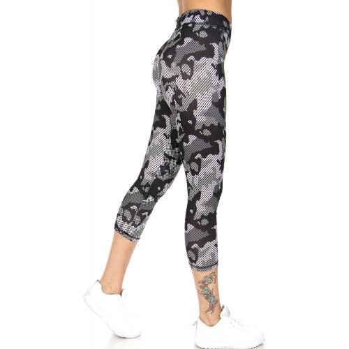 Wholesale B35C Camo cropped workout leggings BK