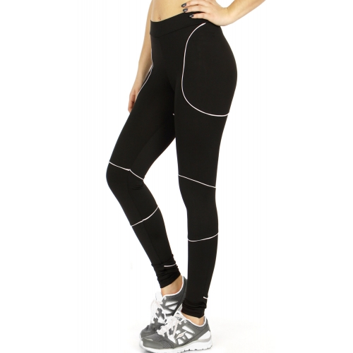 Wholesale A31D Workout leggings w/ contract piping & media pocket WT