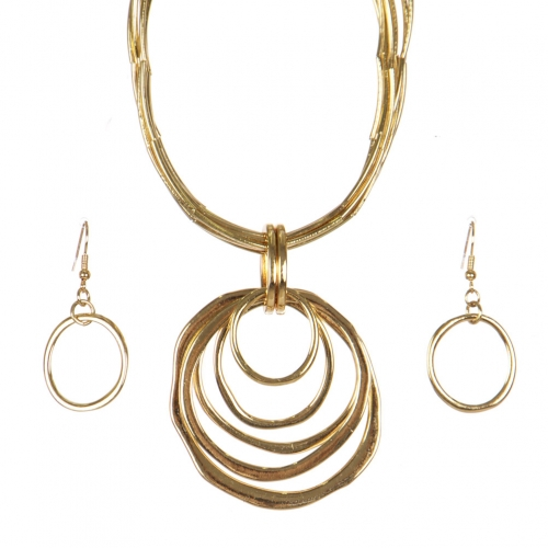Wholesale WA00 Metal rings pendant & metal string necklace set GD