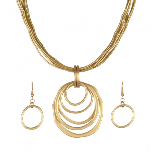 Wholesale WA00 Metal rings pendant & metal string necklace set MG