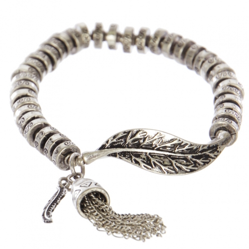 Wholesale WA00 Leaf & tassel metal bracelet SB