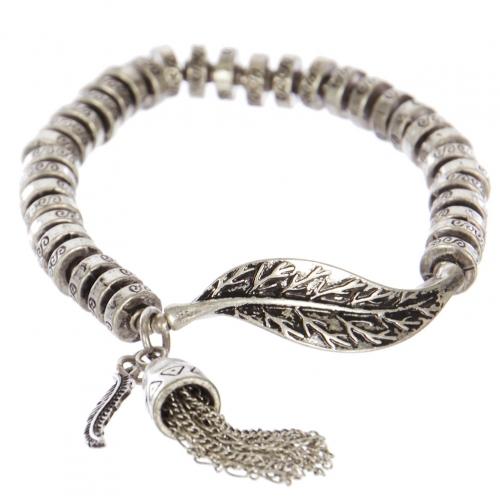 Wholesale WA00 Leaf & tassel metal bracelet SB