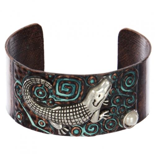 Wholesale WA00 Crocodile & faux pearl metal statement cuff bracelet OGSB