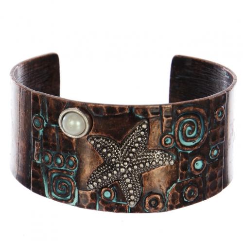 Wholesale WA00 Starfish & faux pearl metal statement cuff bracelet OGSB