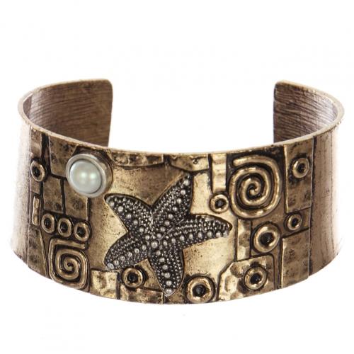 Wholesale WA00 Starfish & faux pearl metal statement cuff bracelet RGBSB