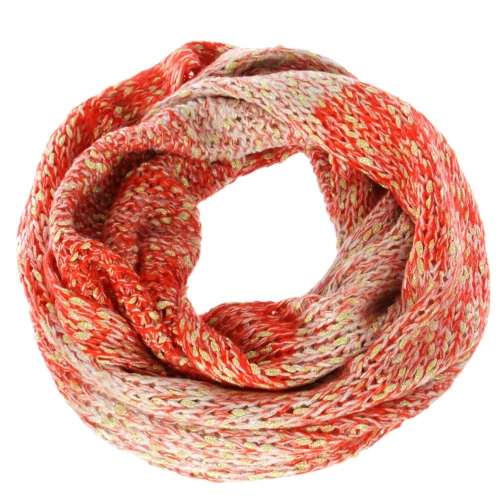 Wholesale T67C Gold yarn & ombre knit infinity scarf BK