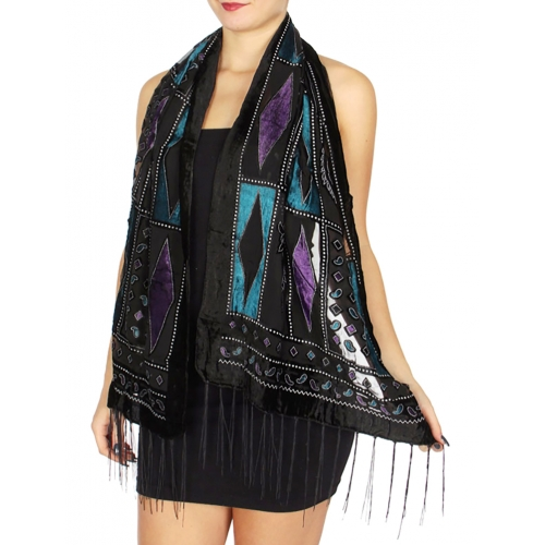 Wholesale Q13C Diamonds & paisley blocks glitter burnout velvet scarf Blue Purple