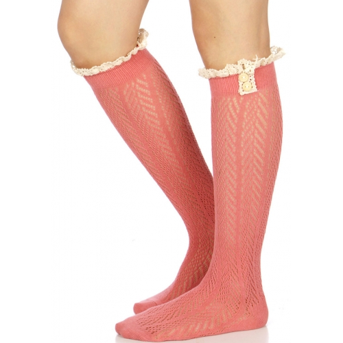 Wholesale R02C Crochet lace knee high socks w/ button detail M