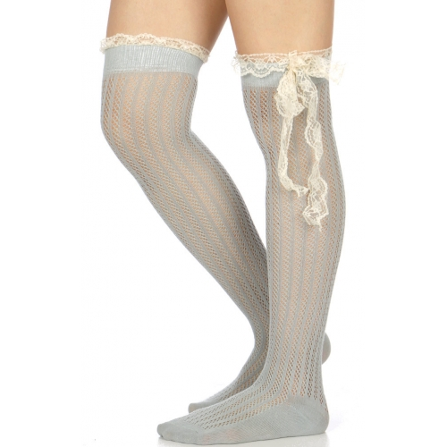 Wholesale U35D Crochet & lace bow over the knee socks GR
