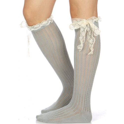 Wholesale I12B Crochet & lace bow knee high socks GR
